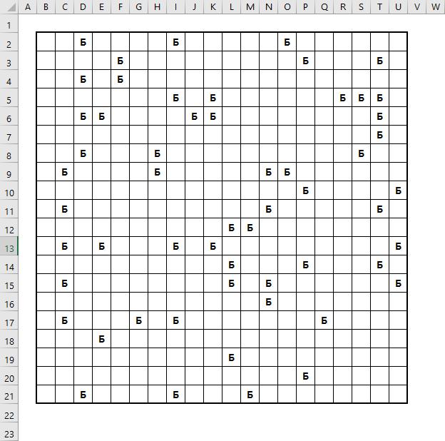 Мины в игре Сапер в Excel